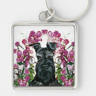 Black Schnauzer Bouquet Keychain