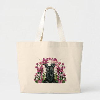 Black Schnauzer Bouquet Large Tote Bag