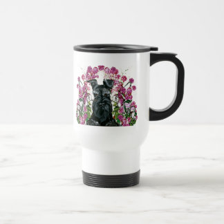 Black Schnauzer Bouquet Travel Mug