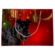 Black Schnauzer Christmas Large Gift Bag