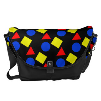 Black School Shoulder Bags With Geometric Shapes Courier Bags