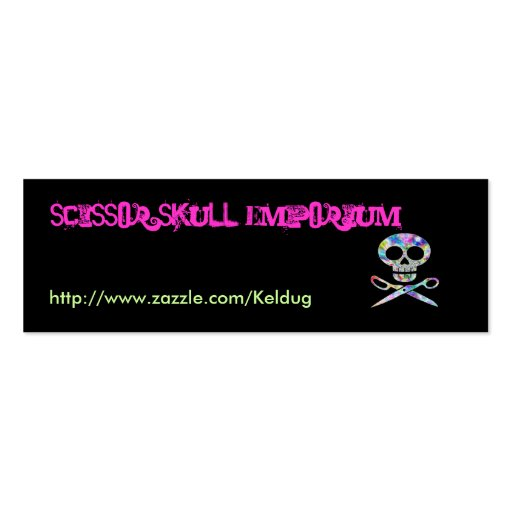 Black Scissor Skull Profile Card Business Cards