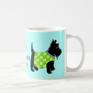 Black Scottie Dog Green Blue Name Personalized Coffee Mug