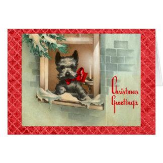 Black Scottie Dog in Window Red Card