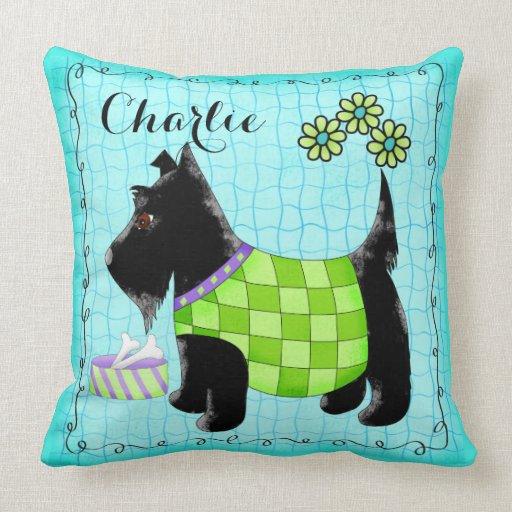 Black Scottie Dog Name Personalize Turquoise Throw Pillows Zazzle