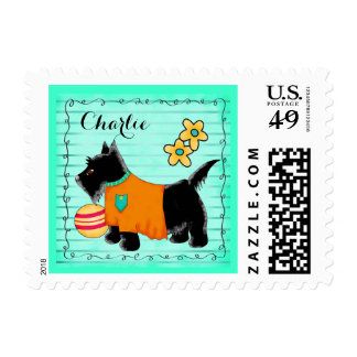 Black Scottie Dog Name Personalized Teal Green Stamps