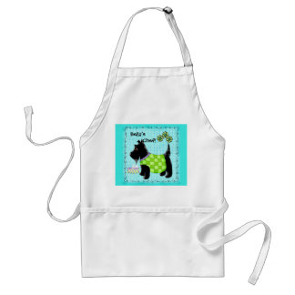 Black Scottie Dog Name Personalized Turquoise Teal Adult Apron