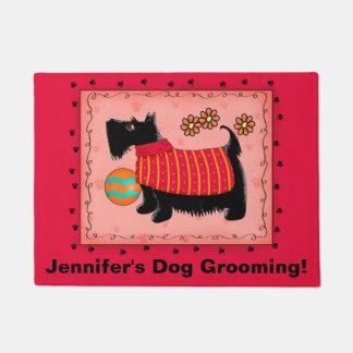 Black Scottie Dog Pet Grooming Business Red Doormat