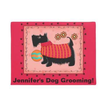 Professional Business Black Scottie Dog Pet Grooming Business Red Doormat