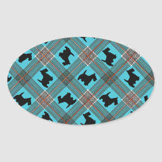 Black Scottie Dog Plaid Tartan Oval Sticker