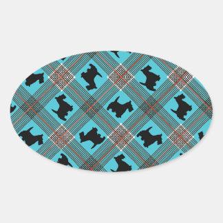Black Scottie Dog Plaid Tartan Oval Sticker