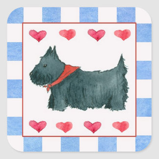 Black Scottie Dog Red White Blue Patriotic Square Sticker