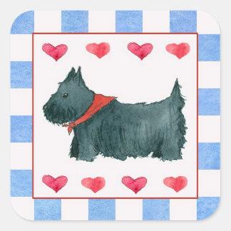 Black Scottie Dog Red White Blue Patriotic Square Sticker