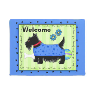 Black Scottie Dog Welcome Blue Green Custom Doormat