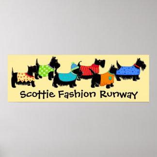 Black Scottie Dogs Fashion Runway Art Yellow Poster