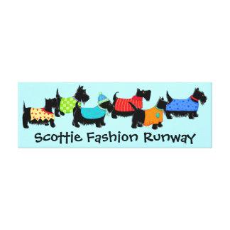 Black Scottie Dogs Fashion Runway Turquoise Art Canvas Print