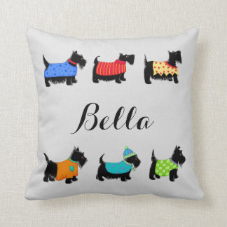 Black Scottie Dogs Name Personalized Decorative Throw Pillow