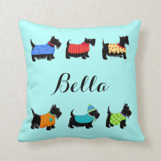 Black Scottie Dogs Name Personalized Turquoise Throw Pillow