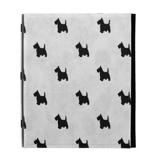 Black Scottie Dogs Tile Pattern iPad Folio Cover