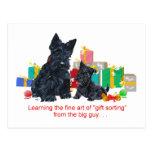 Black Scottie & Pup Christmas Postcard