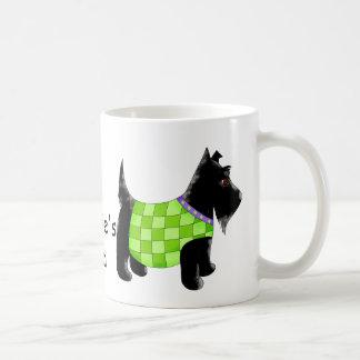 Black Scottie Terrier Dog Green Name Personalized Coffee Mug