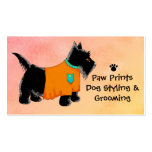 Black Scottie Terrier Dog Grooming Yellow Business Card
