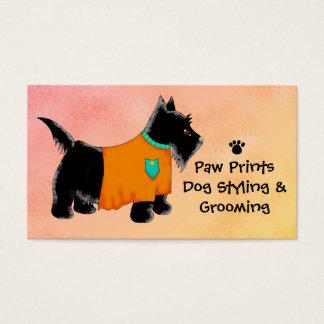 Black Scottie Terrier Dog Grooming Yellow Business Card