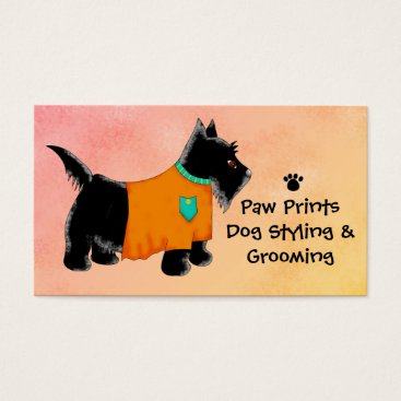Professional Business Black Scottie Terrier Dog Grooming Yellow Business Card