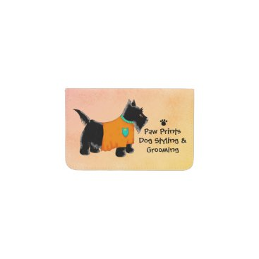 Professional Business Black Scottie Terrier Dog Grooming Yellow Business Card Holder