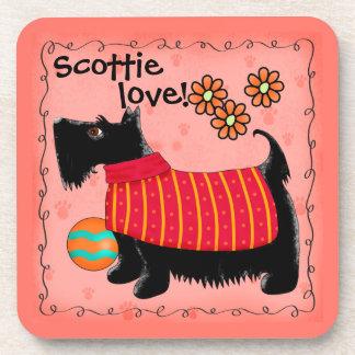Black Scottie Terrier Dog Love Personalized Green Beverage Coaster