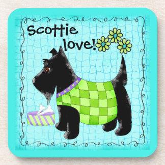Black Scottie Terrier Dog Love Personalized Green Coaster