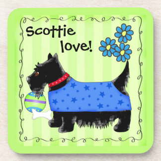 Black Scottie Terrier Dog Love Personalized Green Drink Coaster
