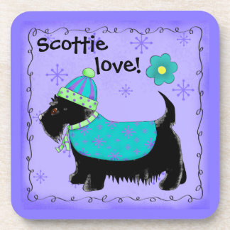 Black Scottie Terrier Dog Love Personalized Purple Coaster