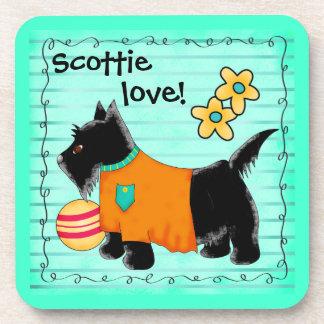 Black Scottie Terrier Dog Love Personalized Teal Beverage Coaster