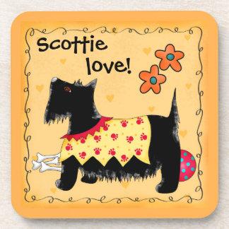 Black Scottie Terrier Dog Love Personalized Yellow Drink Coaster