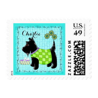 Black Scottie Terrier Dog Name Personalized Blue Postage Stamps
