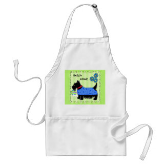 Black Scottie Terrier Dog Name Personalized Green Adult Apron