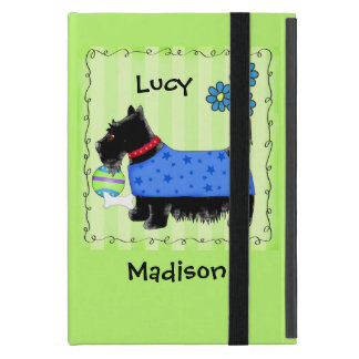 Black Scottie Terrier Dog Name Personalized Green Case For iPad Mini