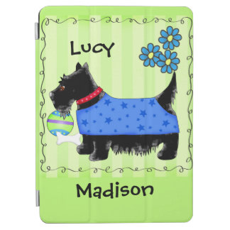 Black Scottie Terrier Dog Name Personalized Green iPad Air Cover
