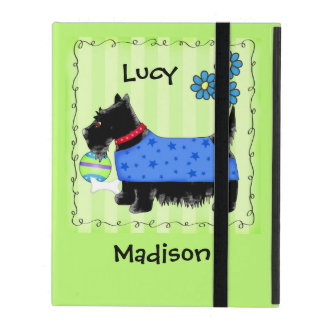 Black Scottie Terrier Dog Name Personalized Green iPad Folio Cases