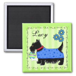 Black Scottie Terrier Dog Name Personalized Green 2 Inch Square Magnet