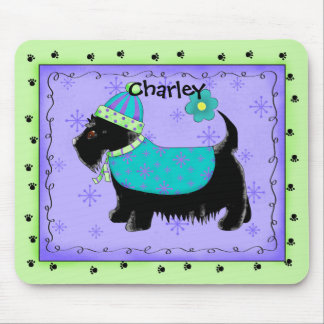 Black Scottie Terrier Dog Name Personalized Green Mouse Pad