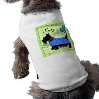 Black Scottie Terrier Dog Name Personalized Green Pet Tee Shirt