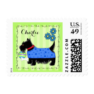 Black Scottie Terrier Dog Name Personalized Green Postage Stamp
