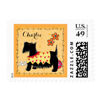 Black Scottie Terrier Dog Name Personalized Green Stamps