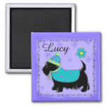 Black Scottie Terrier Dog Name Personalized Purple 2 Inch Square Magnet