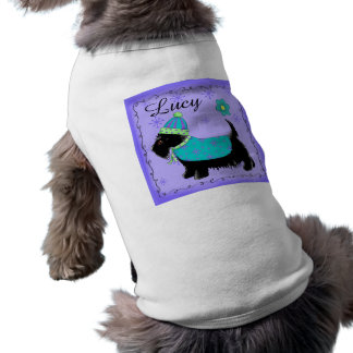 Black Scottie Terrier Dog Name Personalized Purple Doggie Shirt