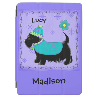 Black Scottie Terrier Dog Name Personalized Purple iPad Air Cover