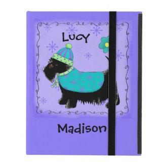 Black Scottie Terrier Dog Name Personalized Purple iPad Folio Case