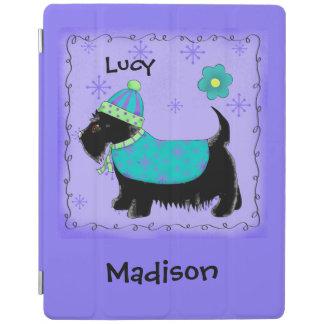 Black Scottie Terrier Dog Name Personalized Purple iPad Smart Cover